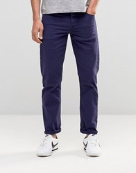 Asos Stretch Slim Jeans In Navy Evening Blue