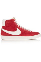 Nike Blazer Perforated Suede High Top Sneakers Red