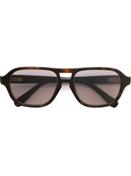 Brioni Square Frame Sunglasses Brown