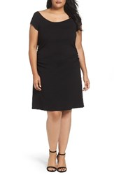 Three Dots Plus Size Women's Side Ruched A Line Jersey Dress Black
