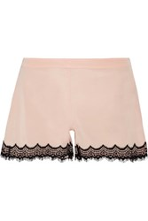 Mimi Holliday By Damaris Bisou Bisou Zoo Stretch Silk Satin And Lace Pajama Shorts Neutral