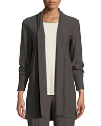 Eileen Fisher Stretch Crepe Open Front Long Jacket Rye