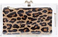 Charlotte Olympia Clear Perspex And Calf Hair Pandora Box Clutch