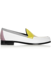 Pierre Hardy Color Block Leather Loafers White