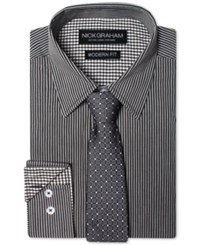 Nick Graham Men's Modern Fitted Striped Dress Shirt And Grid Tie Set Black
