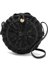 Ulla Johnson Pomme Leather Trimmed Wicker Shoulder Bag Black