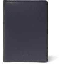Mulberry Cross Grain Leather Bifold Cardholder Navy