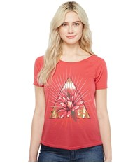 Lucky Brand Floral Triangle Tee Rhubarb Women's T Shirt Red
