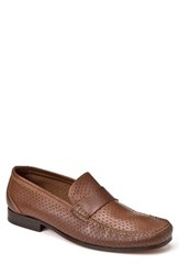 Sandro Moscoloni Men's Alcazar Perforated Loafer Tan Leather