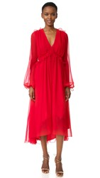 Prabal Gurung Long Sleeve Flounce Dress Crimson