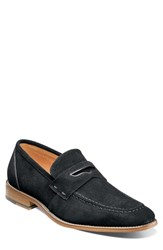 Stacy Adams Colfax Apron Toe Penny Loafer Black Suede
