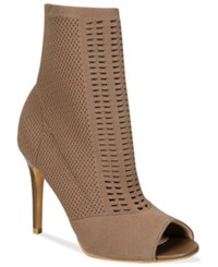 Charles By Charles David Rebellious Stretch Peep Toe Booties Women's Shoes Taupe