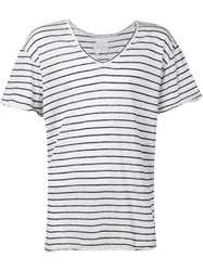 Greg Lauren Striped V Neck T Shirt White