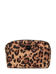 Dolce And Gabbana Nylon Leopard Print Beauty Case Multicolor