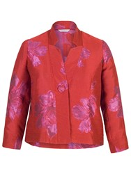 Chesca Two Tone Floral Jacquard Jacket Hot Pink Red