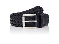 Barneys New York Men's Braided Bridle Leather Belt Navy