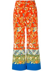 Tory Burch Floral Print Palazzo Pants Women Cotton Spandex Elastane 2 Red