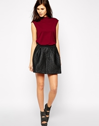 Y.A.S Quilted Skater Skirt Black