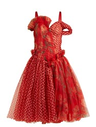 Alexander Mcqueen Pleated Floral Print And Checked Organza Dress Red Multi