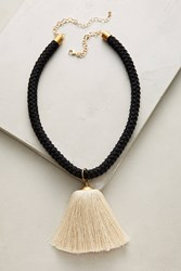 Anthropologie Bellan Tassel Pendant Necklace Black