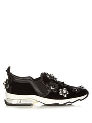 Fendi Flower Applique Velvet Trainers Black Multi