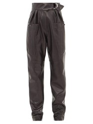 Isabel Marant Ferris High Rise Belted Leather Cargo Trousers Black