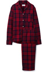 Three J Nyc Etoile Checked Cotton Flannel Pajama Set Red