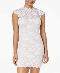 Jump Juniors' Lace Mock Neck Bodycon Dress Ivory Nude