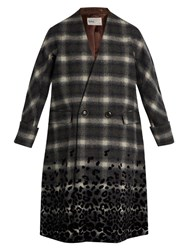Kolor Checked Wool Blend Coat Black Multi