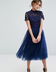 Chi Chi London High Neck Lace Midi Dress With Tulle Skirt Navy