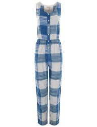 Ace And Jig Blue Cotton Plaid Sleeveless Jumpsuit