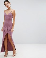 Asos Cami Maxi Dress With Curved Split Lilac Purple