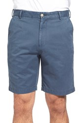 Men's Big And Tall Peter Millar 'Winston' Washed Twill Flat Front Shorts Navy