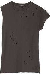 R 13 R13 Asymmetric Distressed Cotton And Cashmere Blend T Shirt Black