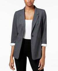 Kensie Three Quarter Sleeve Crepe Blazer Heather Dark Grey