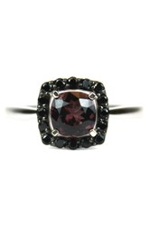 Savvy Cie Tourmaline And Black Spinel Cushion Ring