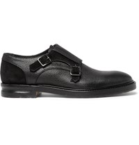 Alexander Mcqueen Suede Panelled Full Grain Leather Monk Strap Shoes Black