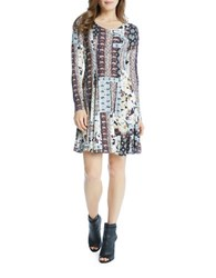 Karen Kane Scoopneck Long Sleeve Printed Dress Multi