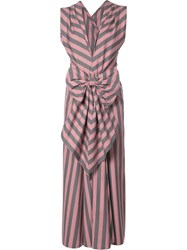 Tome 'Wide Stripe Bow Front' Dress Pink Purple