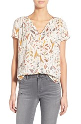 Hinge Women's Print Split Neck Top Ivory Vanilla Sprouts