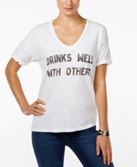 Retro Brand Drinks Well With Others Graphic T Shirt White