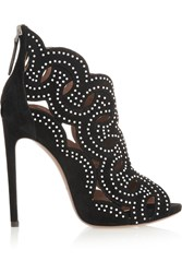 Alaia Cutout Studded Suede Sandals Black