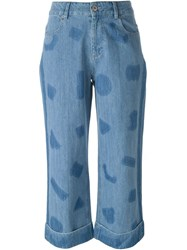 Each X Other Shape Print Wide Leg Jeans Blue