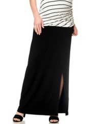 A Pea In The Pod Knit Maxi Maternity Skirt Black