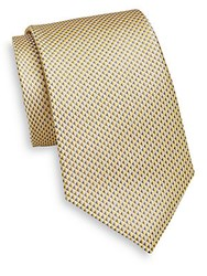 Yves Saint Laurent Neat Triangle Patterned Silk Tie Yellow