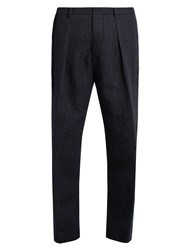 Tomorrowland Drawstring Cotton Straight Leg Trousers Navy