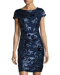 Marina Floral Sequined Sheath Dress Navy
