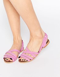 London Rebel Strappy Leather Flat Sandals Pink