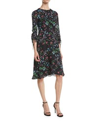 Milly Diana Crewneck Ruched Sleeve Wildflower Print Silk A Line Dress Multi