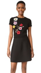 Red Valentino Floral Intarsia Dress Black